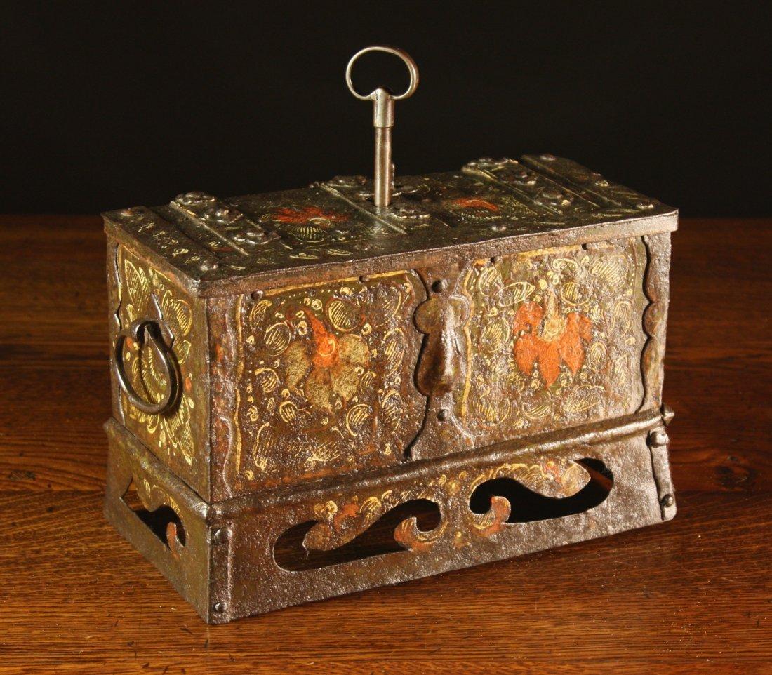 16: A 17th Century Nuremberg Wrought Iron Casket painte