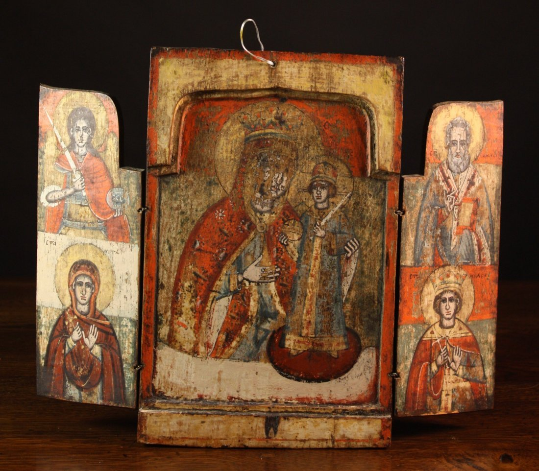 22: A 17th Century Tripart Triptych Icon with the Madon