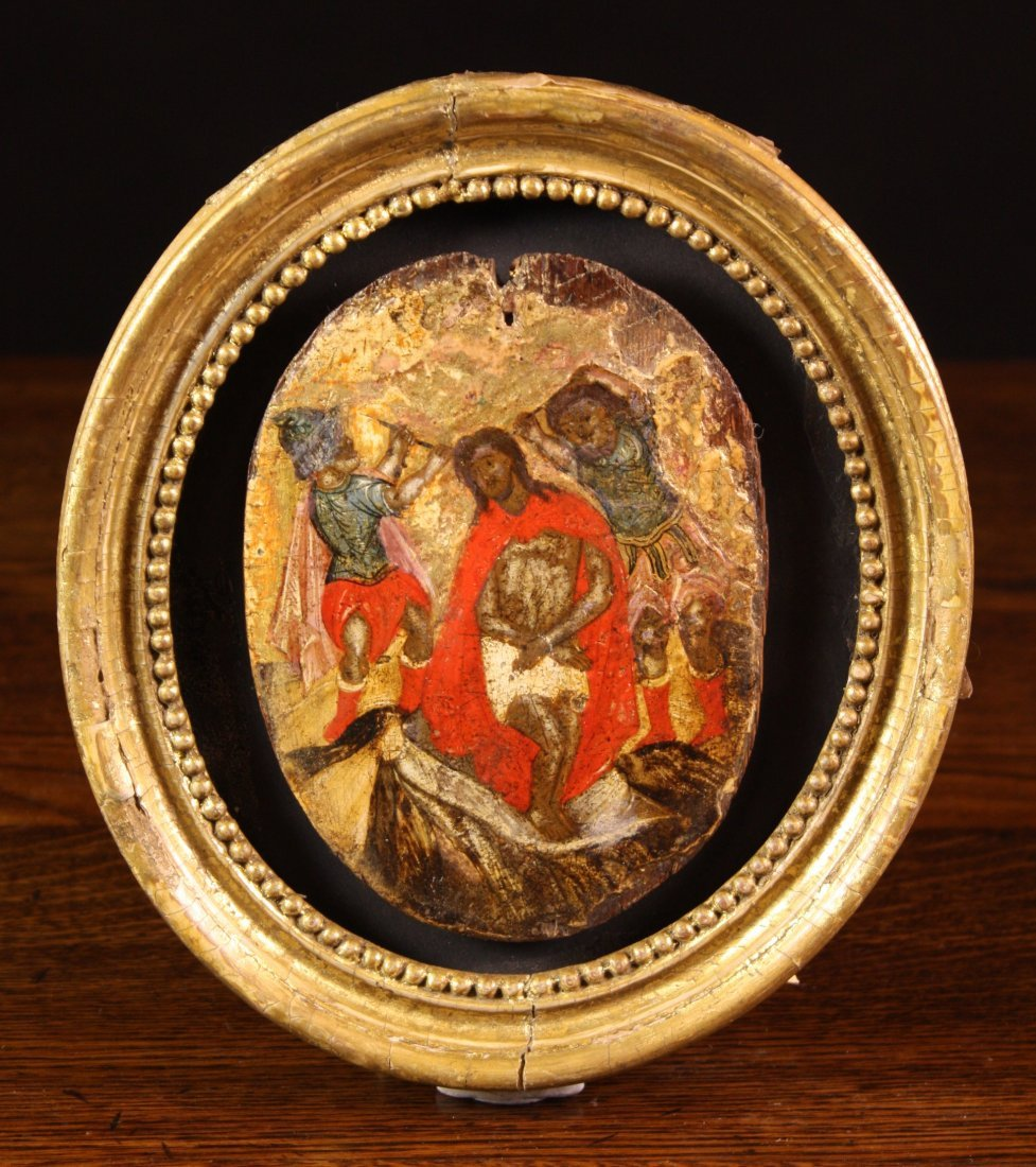 24: A 15th Century Oval Fragment Panel Painting depicti