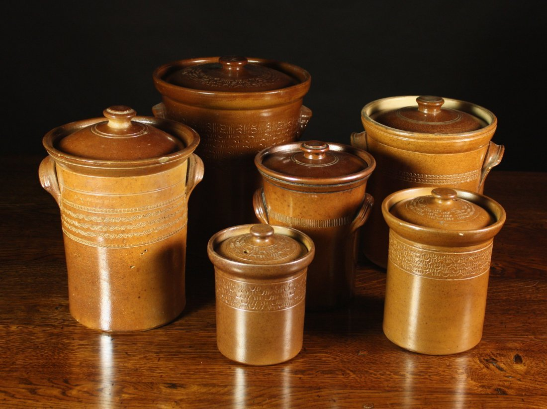 101: A Group of Six Salt Glazed Stoneware Lidded Jars o
