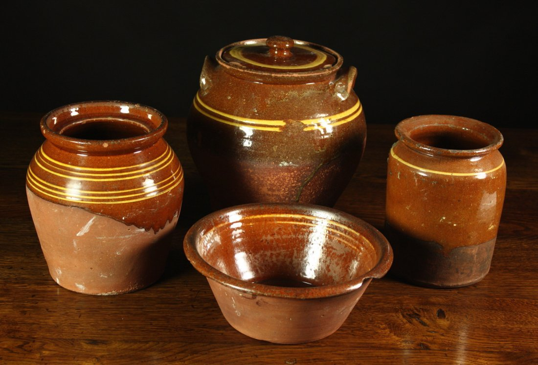 103: A Bowl and Three Slipware Jars; one of ovoid form