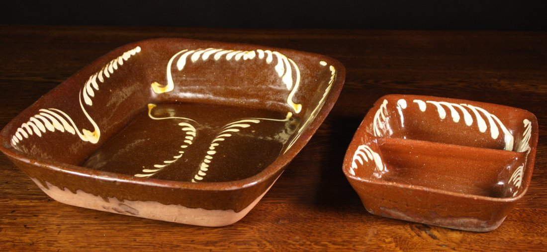 105: Two Slipware Meat Dishes of rectangular form 10½ i
