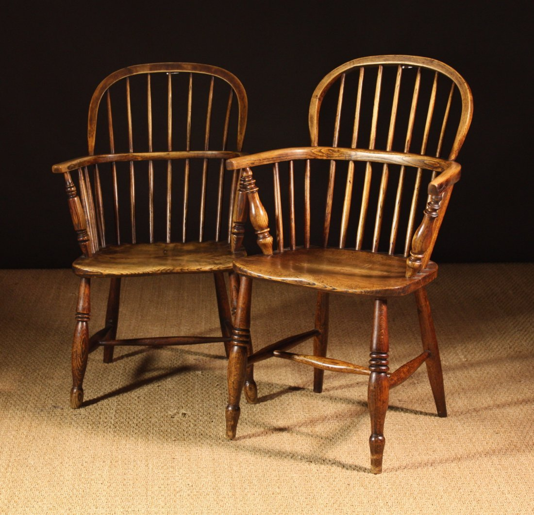 108: Two Similar 19th Century Ash & Elm Windsor Chairs.