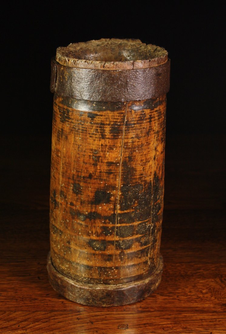 113: A 17th Century Beech Mortar of cylindrical dug out