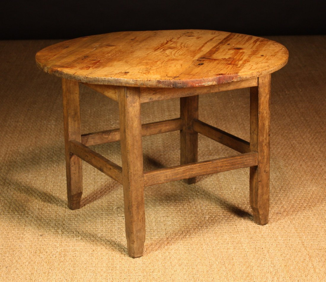 115: A Small 19th Century Pine Coffee Table with a circ