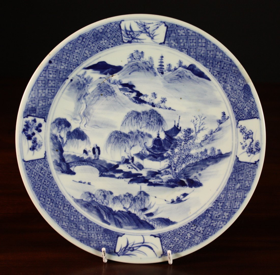 2: A 19th Century Blue & White Charger decorated with c