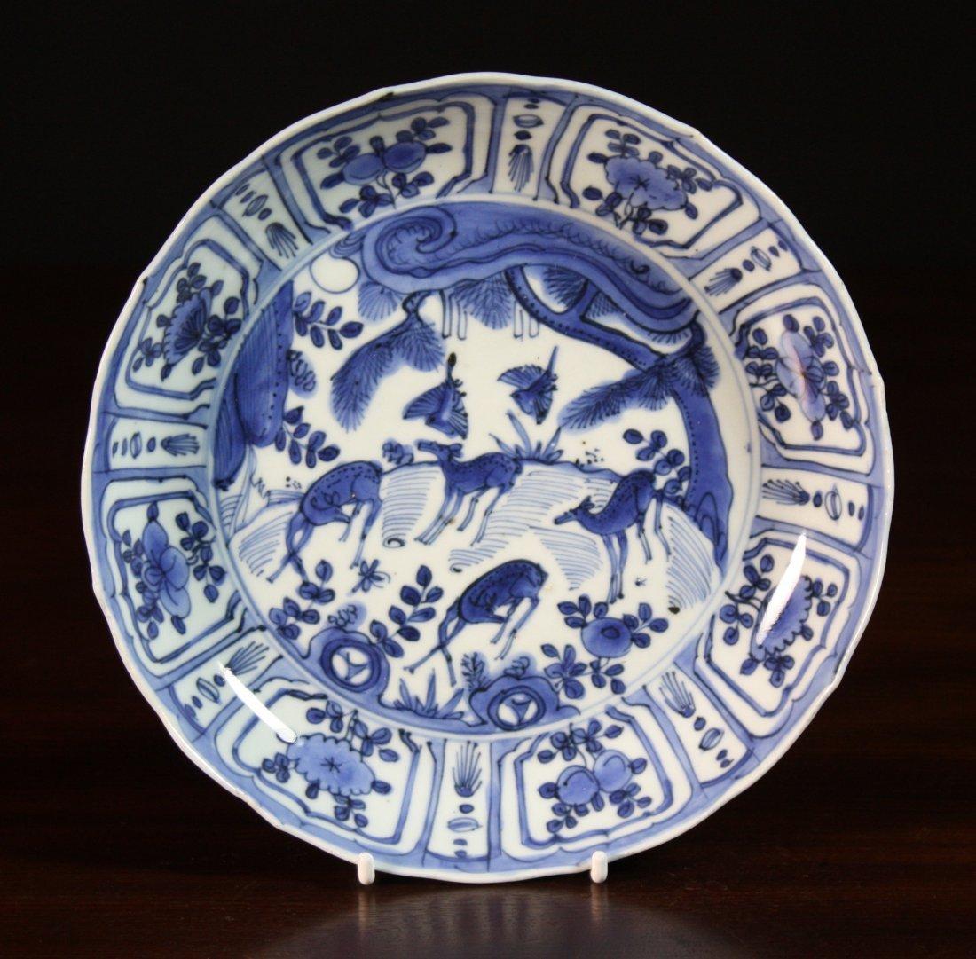 4: A Wan Li Period Blue & White Plate depicting deer gr