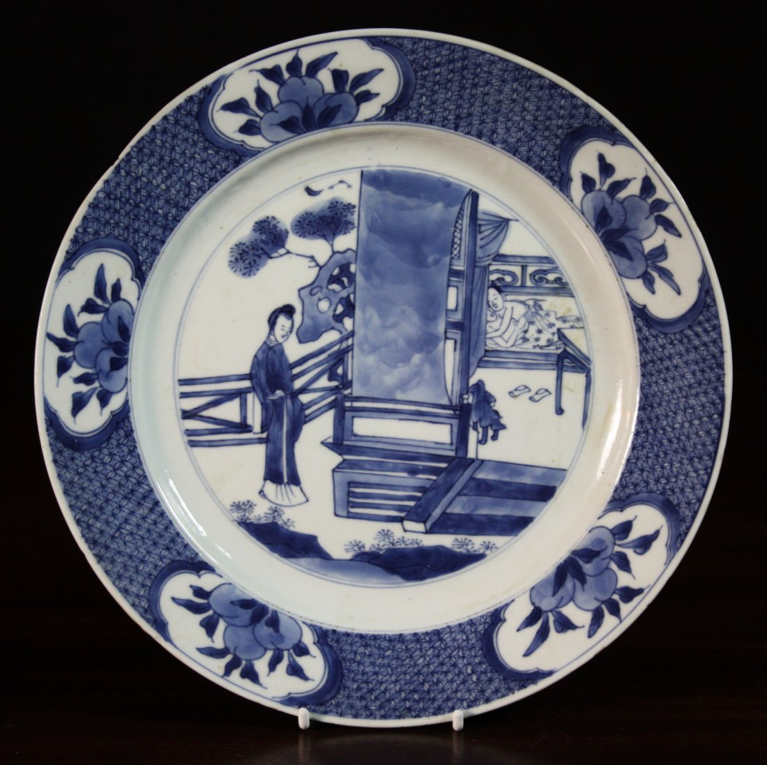 5: A Chinese Kangxi Period Blue & White Plate, painted