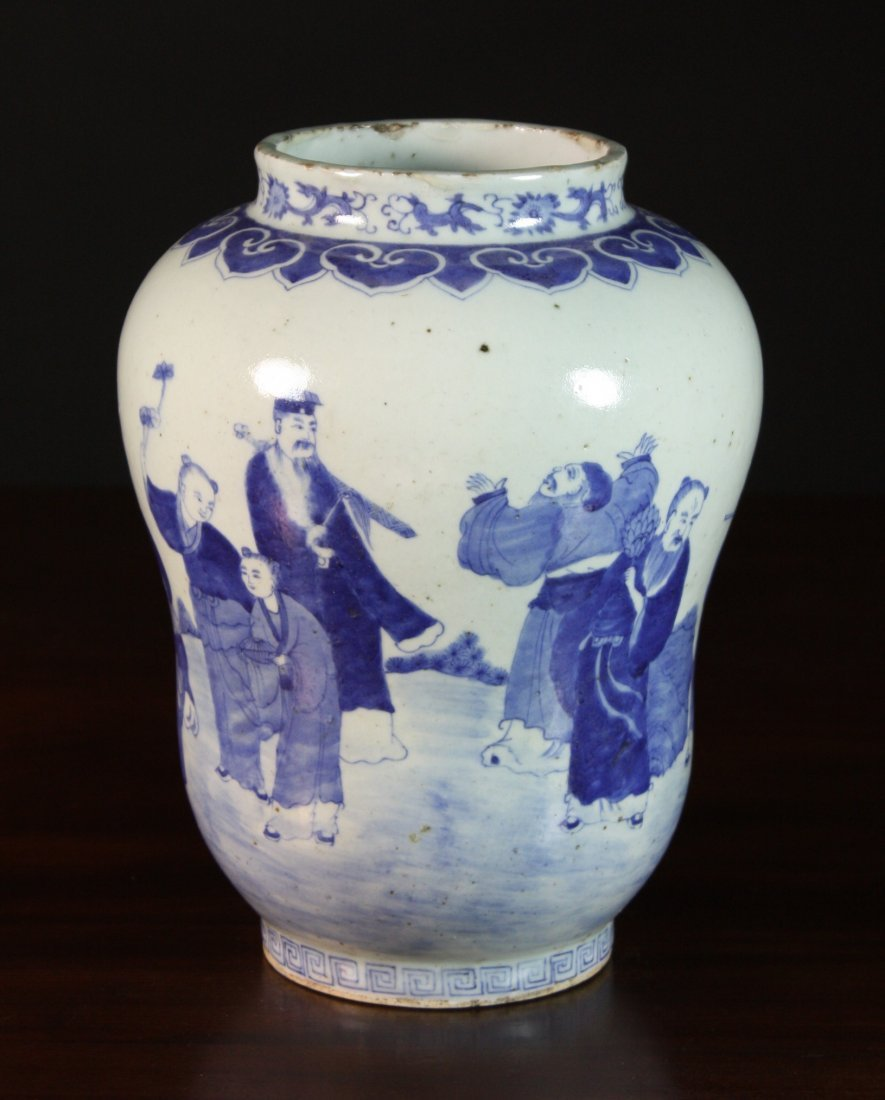 11: An Antique Blue & White Chinese Vase of ovoid form,