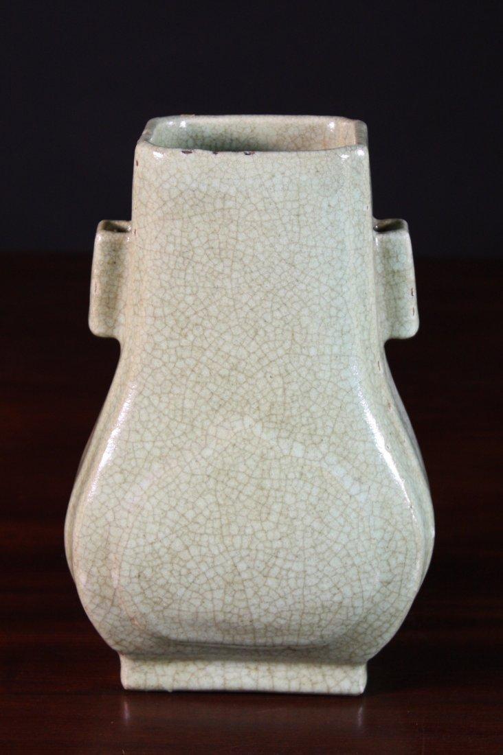 16: A Celadon Crackle Glazed Vase of square baluster fo