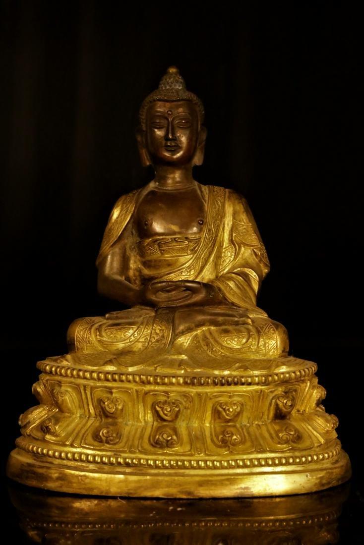 A gilt-bronze sakyamuni