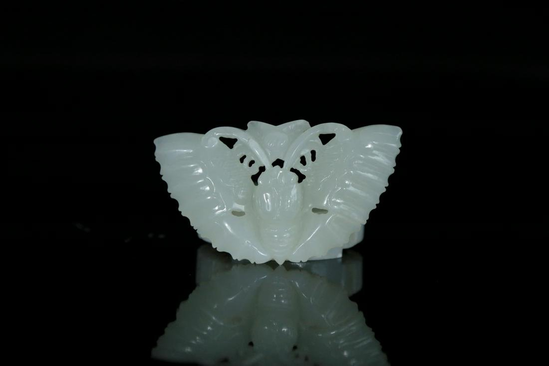 A white jade carved buterfly