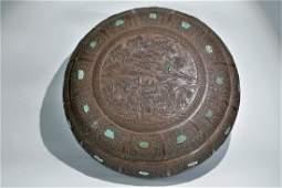 A rare large bamboo veneer circular box and cover