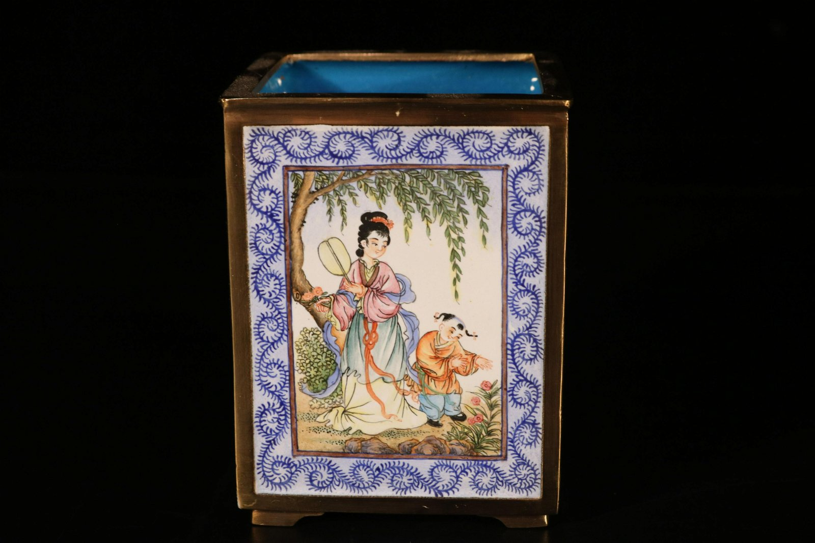 A brouze  painted enamel 'character' brush pot
