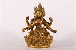 An Exceptional Gilt-bronze Figure of Manjusri