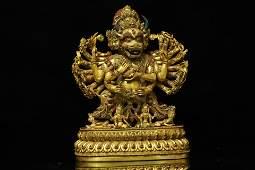 An Exceptional Gilt-bronze Figure of Kong Kim