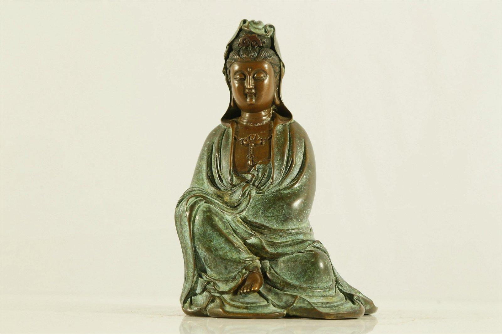 A Fine Yixing Clay Figure of Guanyin