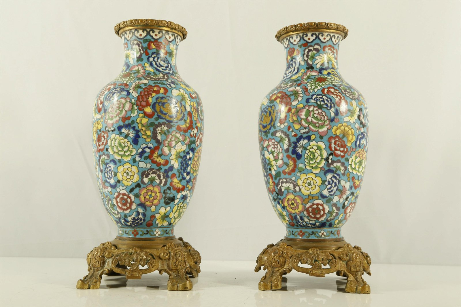 A Pair of Rare and Fine Cloisonne 'Flower' Ornament