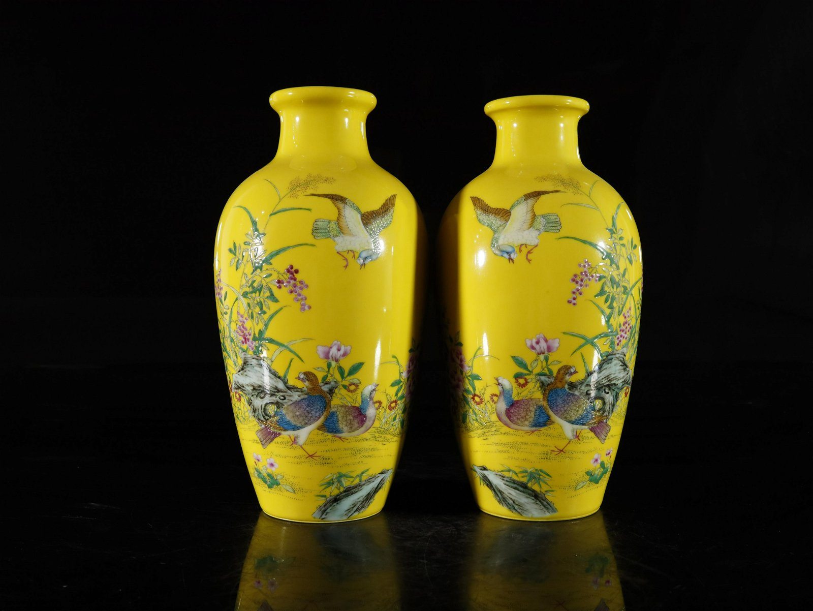 A Fine pair of Famille-rose 'Flower and Bird' Vases