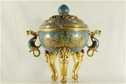 An Exquisite Cloisonne Dragonveined Censer