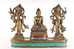 A Set Of Fine Gilt-bronze Figrue Of Brddha