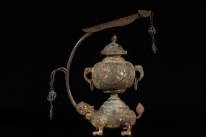 A Fine and Rare Silver 'Dragon and Turtle' Vase