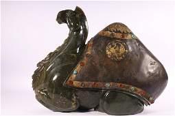 A Very Rare Jasper Inlaid Gilt-Silver And Gems Camel