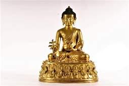 A GiltBronze Figure Of Sakyamuni