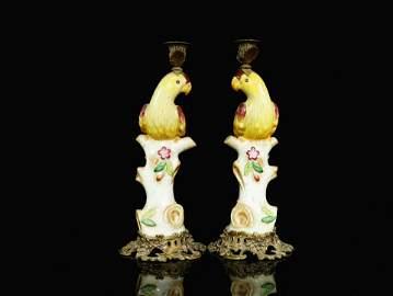 Wucai copper bone porcelain candlestick