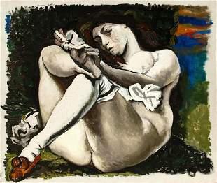 GUTTUSO  Renato, Donna con calza bianca (omaggio a