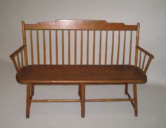 502: CHILD'S SIZE WINDSOR BENCH. Refinished mixed woods