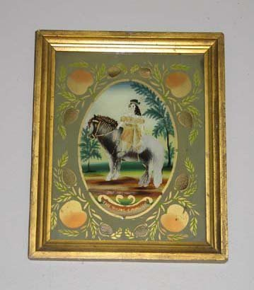 503: FRAMED REVERSE GLASS PAINTING. Young boy in a feat