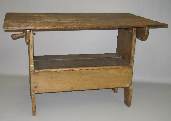 504: PAINTED HUTCH TABLE. Poplar. Scrub top with graine