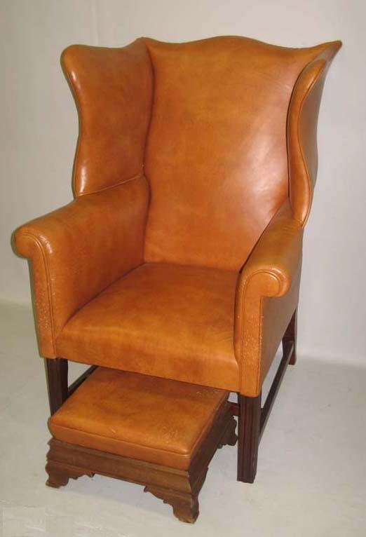 513: CHIPPENDALE  WINGBACK CHAIR AND FOOTSTOOL. Picture
