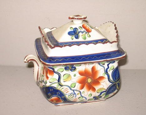 523: GAUDY DUTCH COVERED SUGAR. Sunflower pattern with