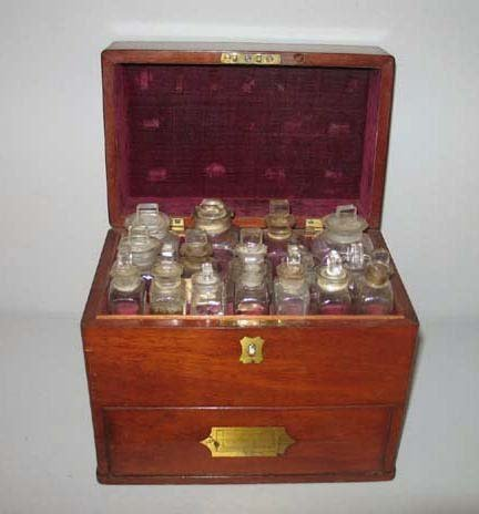 3: APOTHECARY CHEST. Mahogany case with fitted top comp