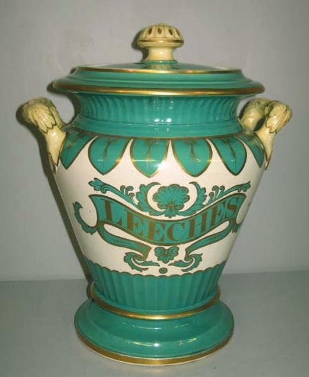 19: STAFFORDSHIRE LEECH JAR. Fluted bands in sea green