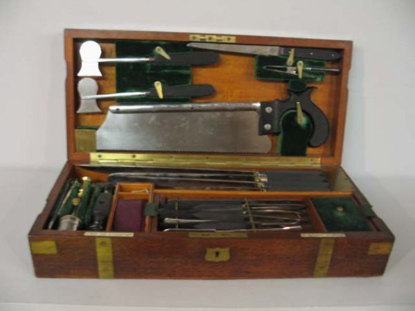 "25: SURGEON'S KIT. Fitted mahogany case marked ""S. Maw,"