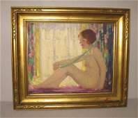 """472: OIL ON ARTIST BOARD BY """"COATES"""". Nude woman sittin"""