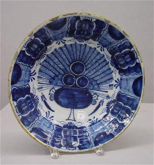 ENGLISH DELFT CHARGER. Cobalt and medium blue peacoc