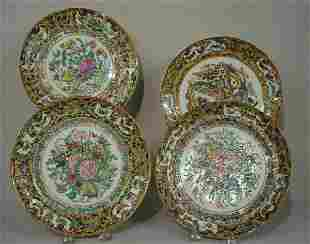 FOUR ORIENTAL EXPORT PLATES. All have 1000 Butterfly