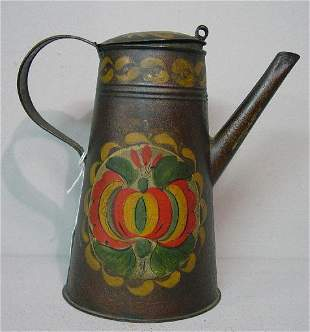 TOLE COFFEE POT. Small size with original pomegrana