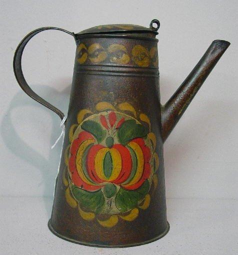 15: TOLE COFFEE POT. Small size with original pomegrana
