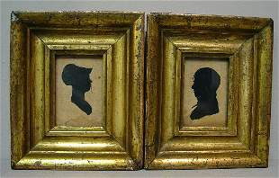 PAIR OF SILHOUETTES. Penciled outlines of a husband