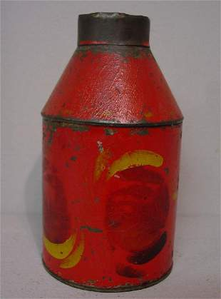 RED TOLE TEA CADDY. Cylindrical with original red g
