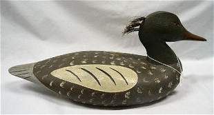 CARVED WOODEN MERGANSER DECOY. Contemporary by Jake