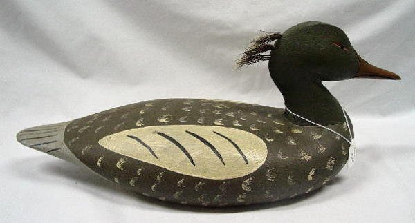 25: CARVED WOODEN MERGANSER DECOY. Contemporary by Jake