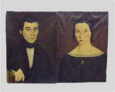 224: PAIR OF OIL ON CANVAS PORTRAITS. Both unframed and