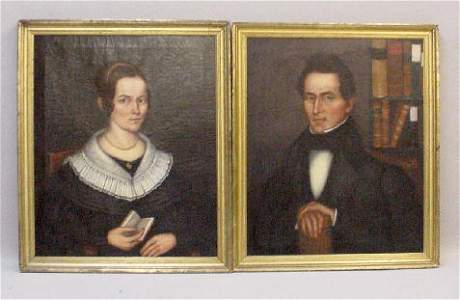 286: PAIR OF OIL ON CANVAS PAINTINGS. Seated portraits