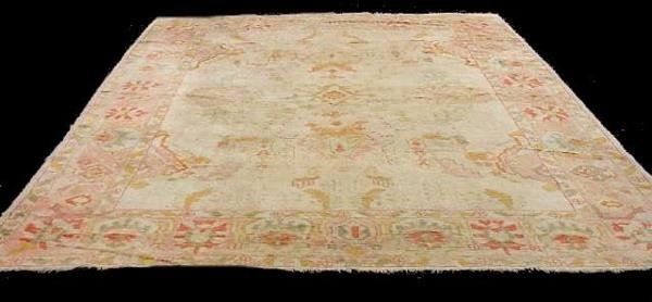 426: ORIENTAL RUG. Room size Oushak. Muted pink, orange